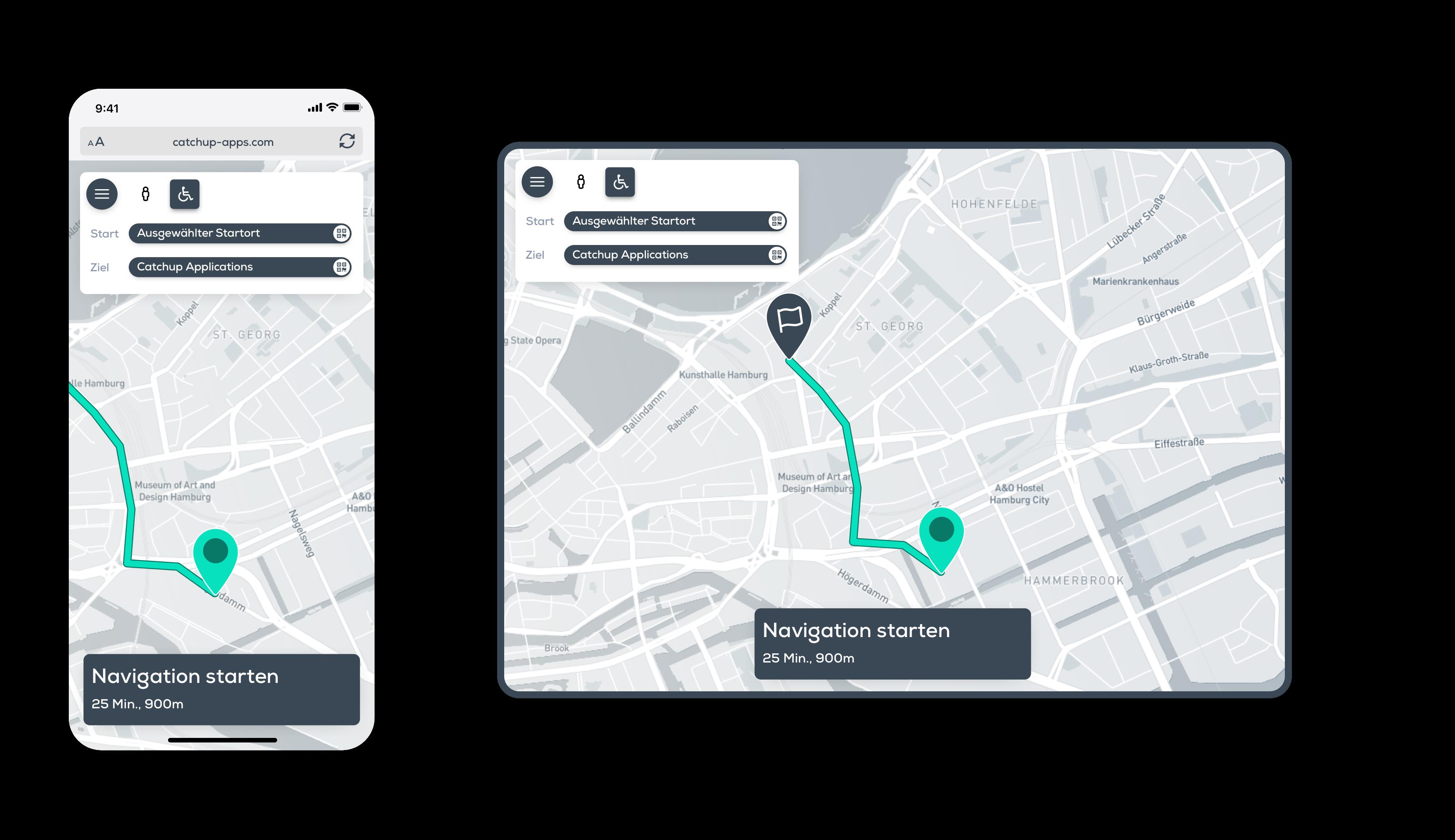 hospital app, indoor, outdoor, off site on site, navigation