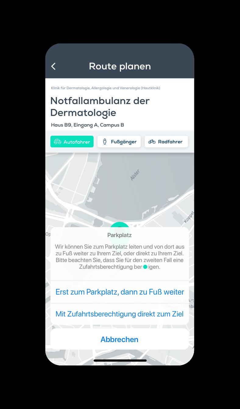 Outdoor-Navigation, Krankenhaus-App, Klinik App, krankenhausapp