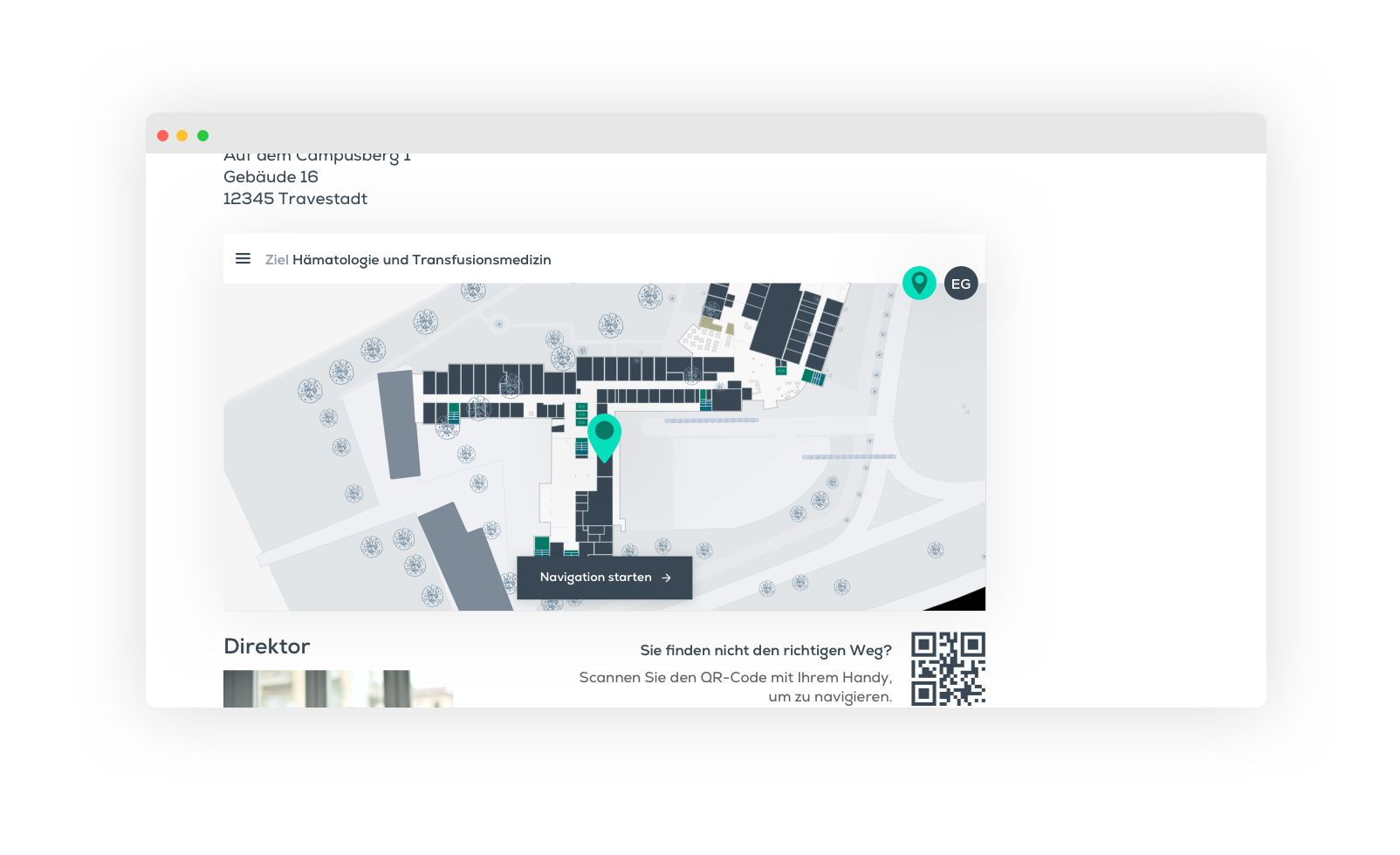 Navigation, Browser, Krankenhaus-App, Klinik App, Krankenhausapp
