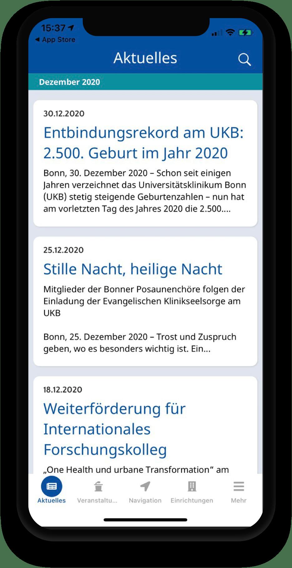 Krankenhaus-App, Bonn, Navigation