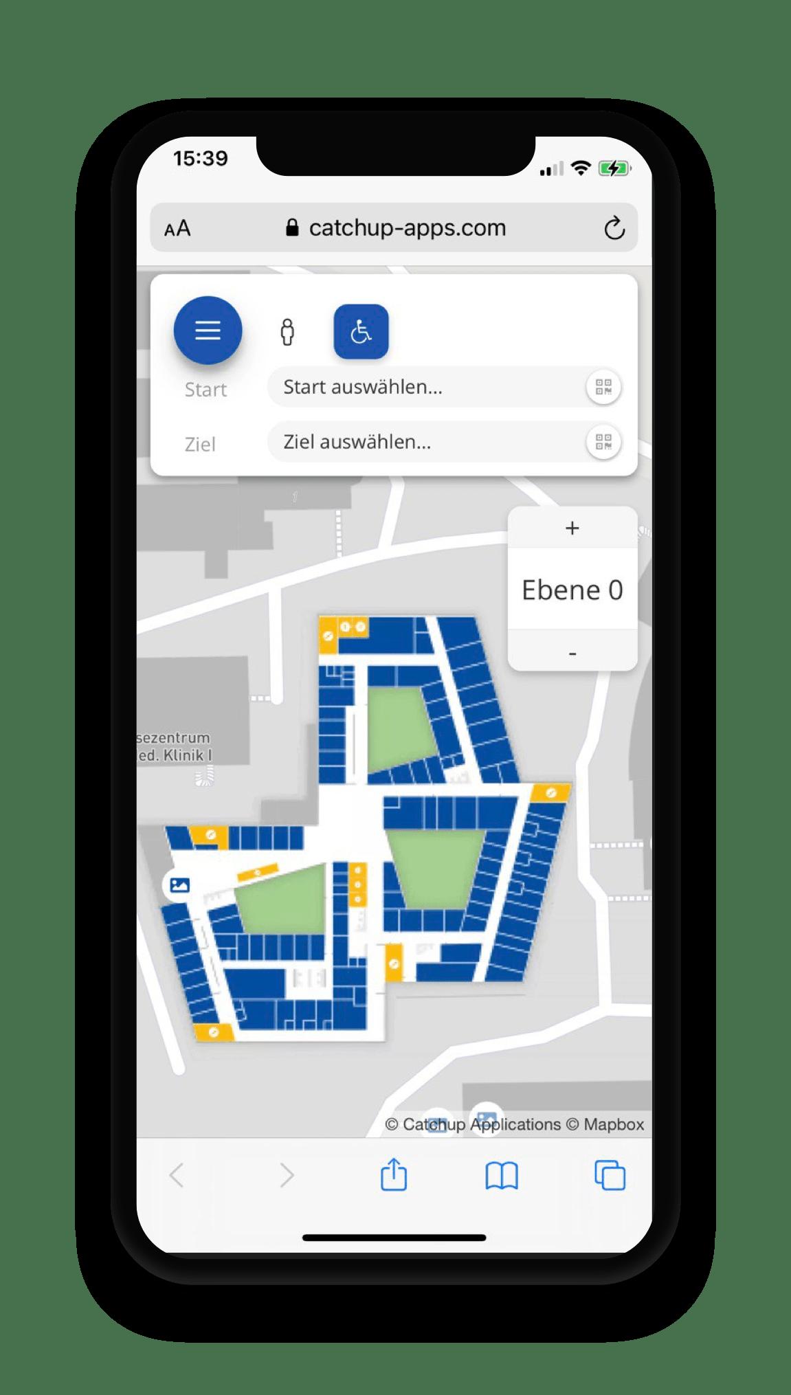 Ortung im Gebäude, App für Navigation, Echtzeitlokalisierung